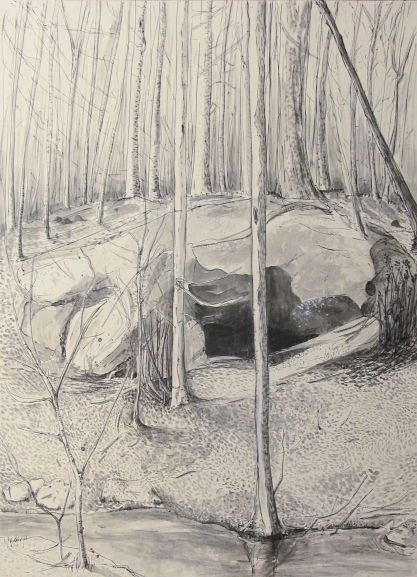 Drawing after a photograph of a Leather Man shelter in North Greenwich CT. ©Susan McCaslin